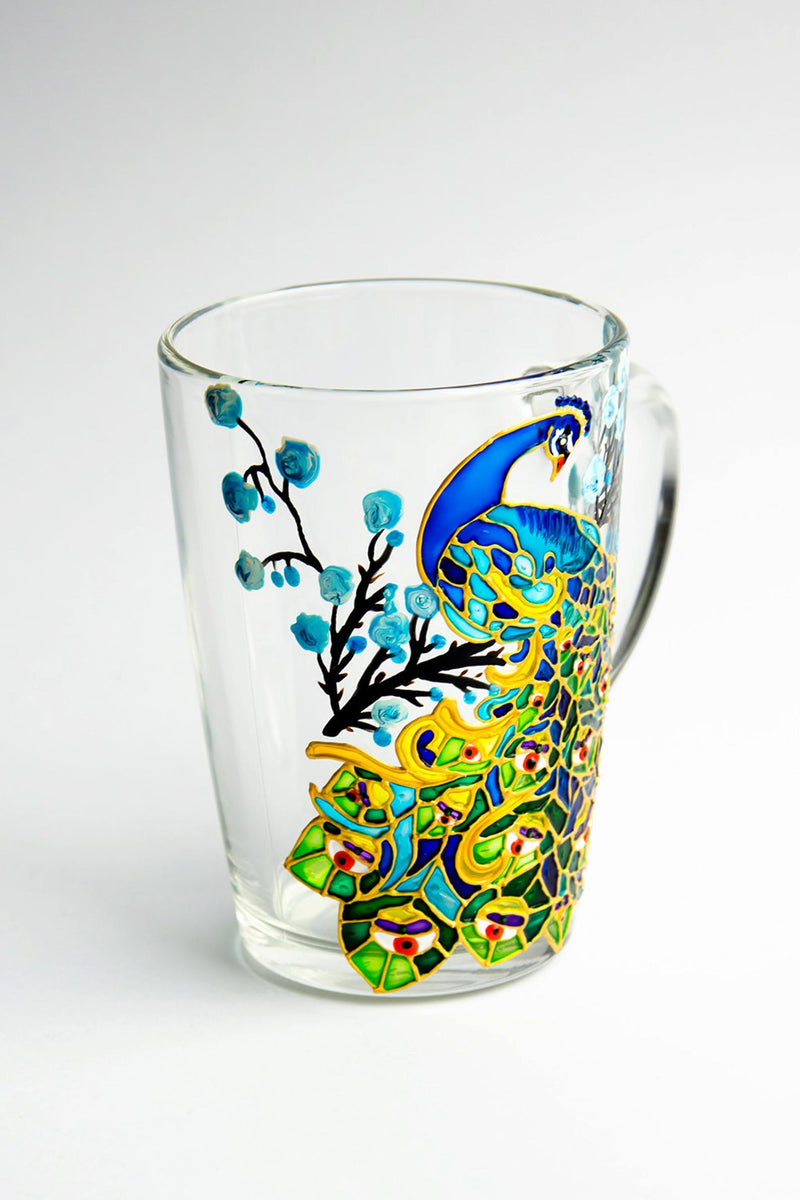 Peacock Mug Hand Painted Peacock