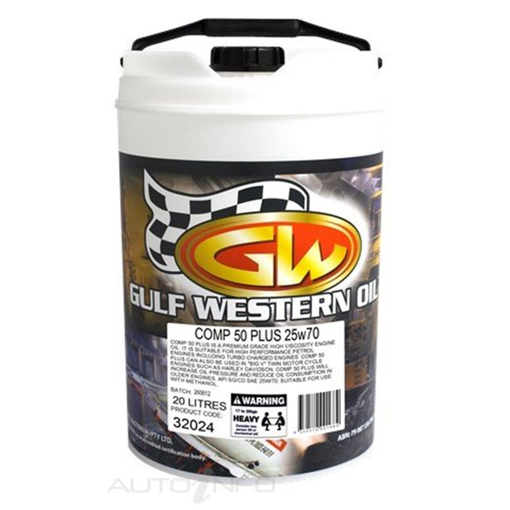 Gulf Western Comp 50 Plus SG/CD Mineral Oil - 25W-70, 20L-Engine Oil-SES Direct Ltd