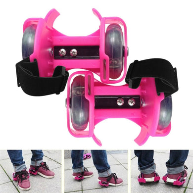 3-Colors Colorful Flashing Roller Whirlwind Pulley Heel Roller Adjustable kids Adult