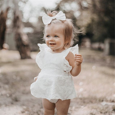 0-24M Newborn Kid Baby Girls Clothes Ruffles Sleeveless Lace Romper Elegant White Sunsuit Outfit