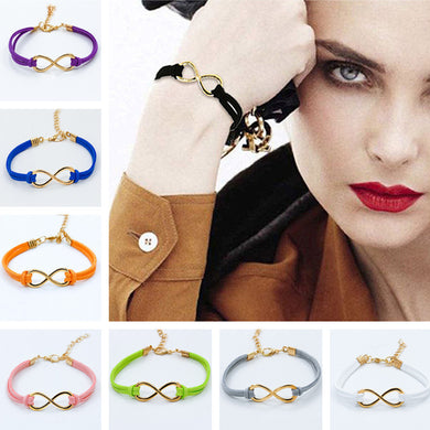 14 Colors Gold Plated Cross Infinity Leather Bracelet Charm Eight BangleBijoux 2016 pulseras