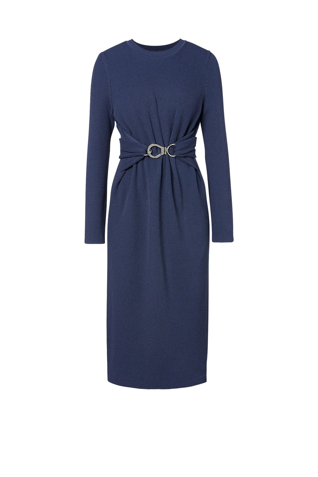 CREPE KNIT BELTED DRESS