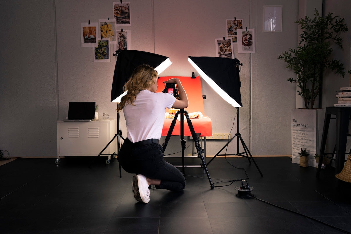 'Work Hustle' food photography photo table and softbox lighting kit