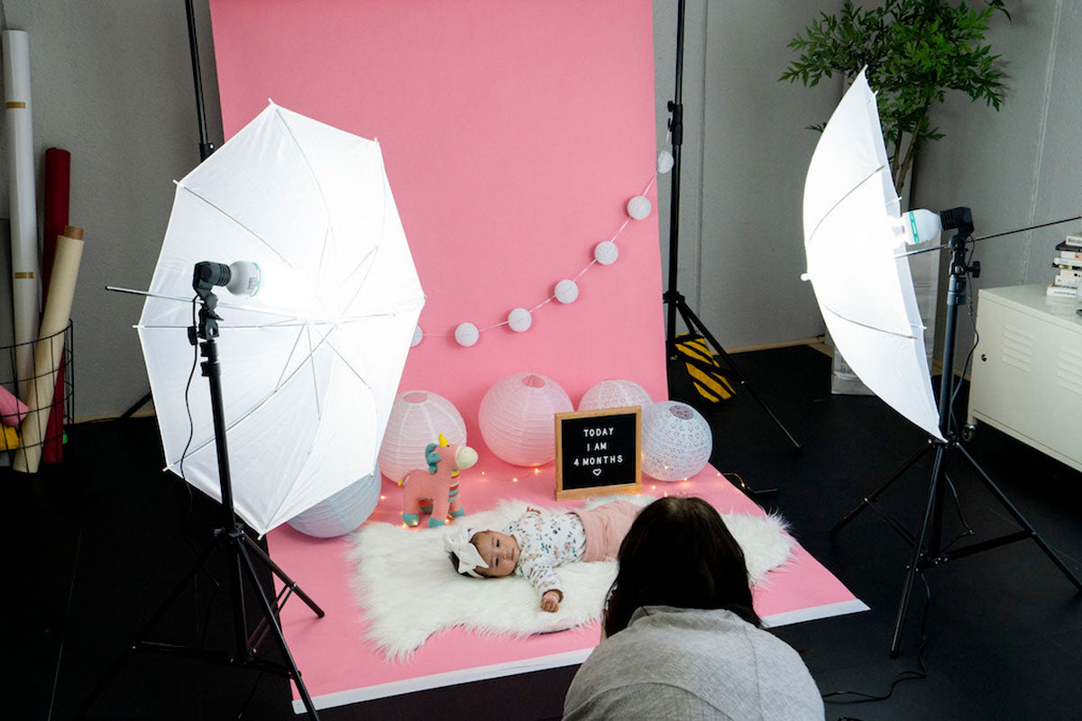 spectrum 'twinkle kit' double umbrella softbox lighting modifier kit for baby photography