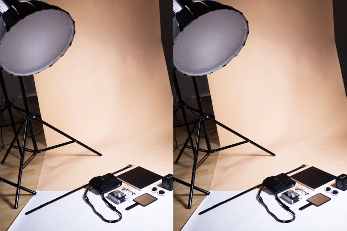 flash strobe and softbox modifier flat lay photography lighiting setup