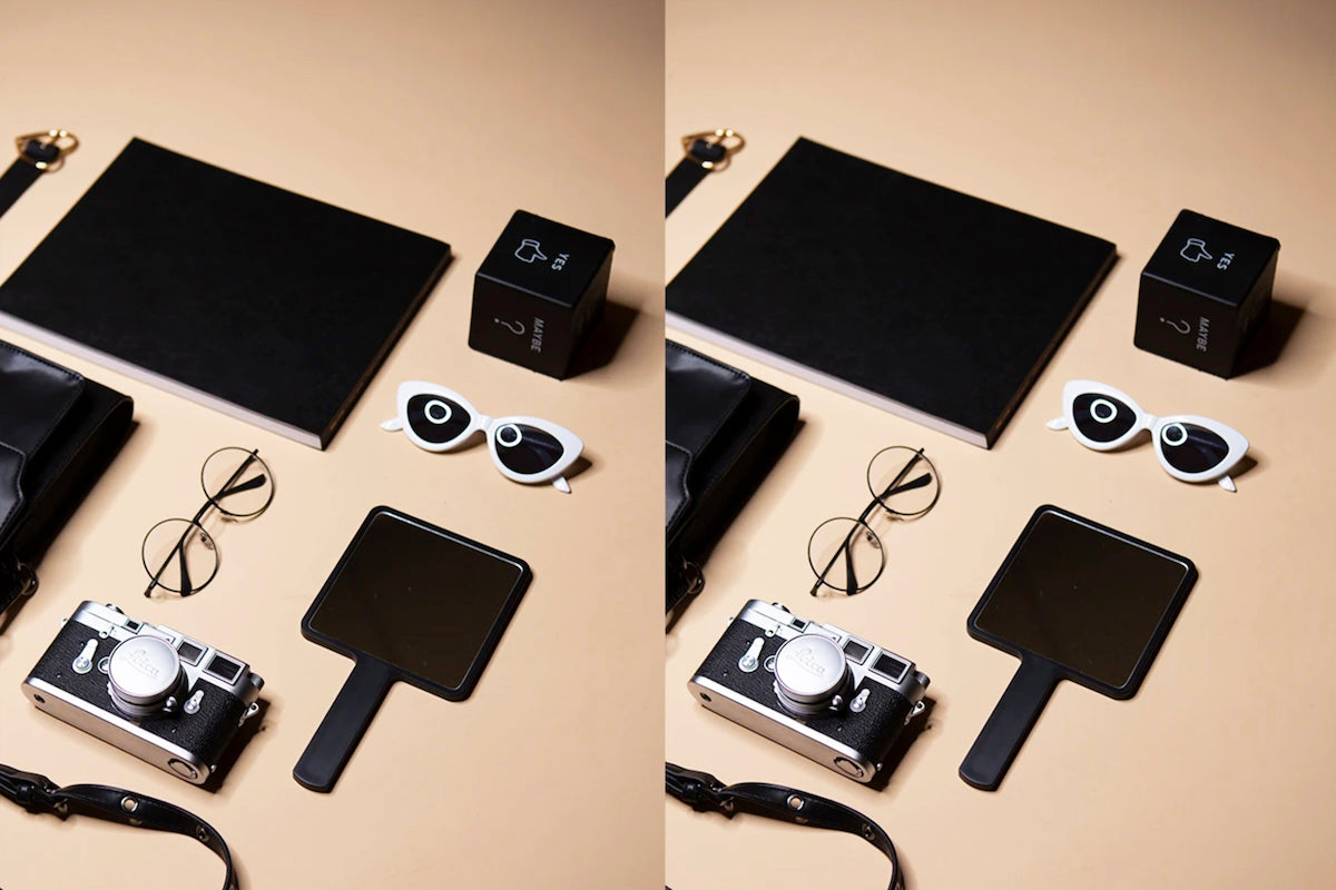 flash strobe and softbox modifier flat lay photography lighting setup result