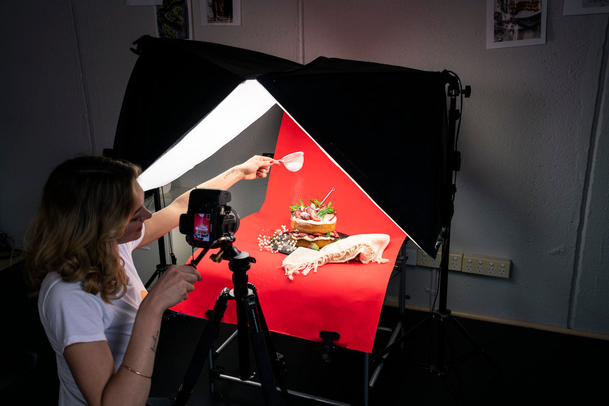 work hustle photography double softbox and photo table kit