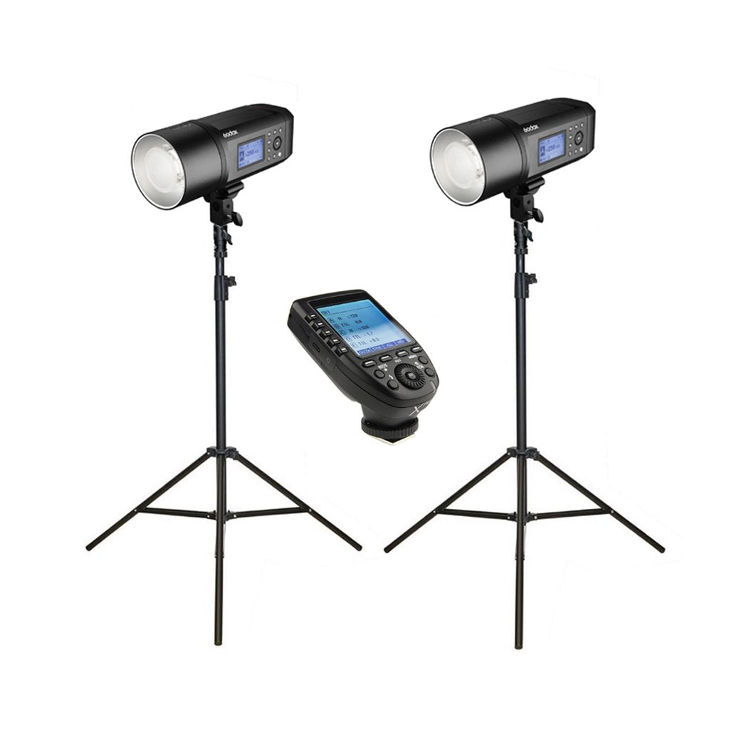2x Godox AD600Pro Witstro Studio Flash Strobe Light & Stand Kit with XPro Trigger