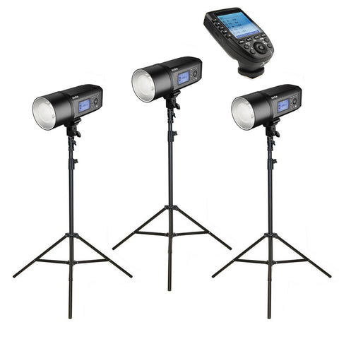 3 x Godox AD600Pro Witstro Studio Flash Strobe Light & Stand Kit with XPro Trigger