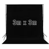 Black 3M x 3M Cotton Muslin Studio Backdrop