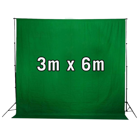 Chroma Key Green Screen 3m x 6m Cotton Muslin Studio Backdrop