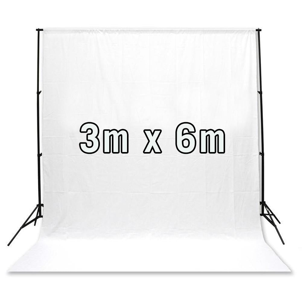 White 3M x 6M Cotton Muslin Studio Backdrop