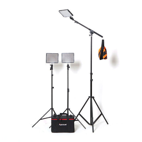 Aputure 3 x HR672 LED Video Continuous Portable 3 Point Lighting Kit With Boom