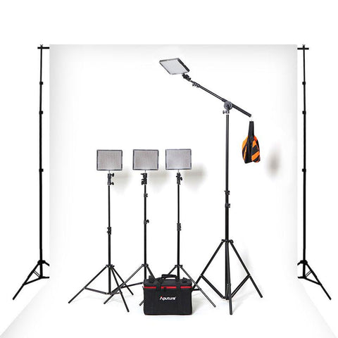 Hypop Professional LED Photo Video Continuous Portable Lighting Boom Kit & Backdrop Set (Medium) exclude