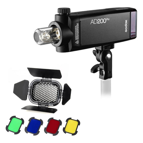 Godox Witstro AD200Pro 200W Cordless Portable Outdoor TTL Flash Strobe with BD-07 Barndoor Honeycomb Set