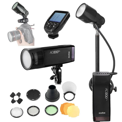 Godox AD200Pro 200W Flash Pro Round Head Extension Kit With Stand