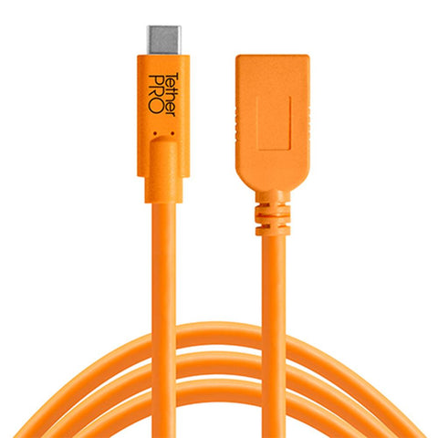 TetherPro USB-C to USB-A Female Adapter Extension 4.6m Hi-Vis Orange