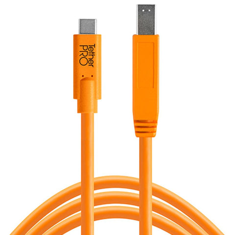 TetherPro USB-C to USB 3.0 Male B 4.6m Hi-Vis Orange