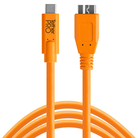 TetherPro USB-C to USB 3.0 Micro-B 4.6m Hi-Vis Orange