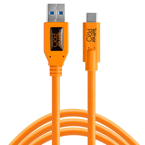 TetherPro USB 3.0 to USB-C 4.6m Hi-Vis Orange
