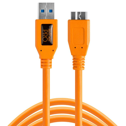 TetherPro USB 3 Male To Micro-B 5 Pin - 1.8m Hi-Vis Orange