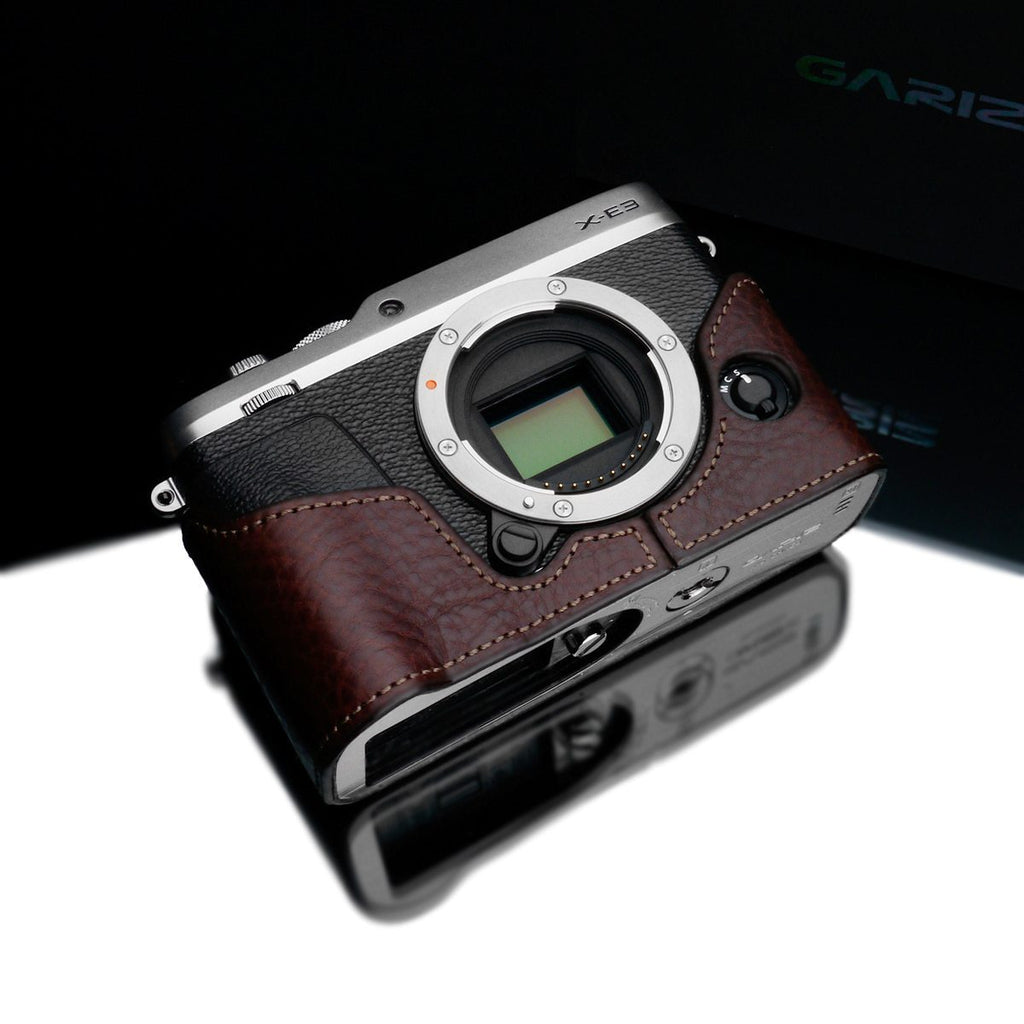 Gariz Brown Leather Camera Half Case XS-CHXE3BR for Fuji Fujifilm X-E3