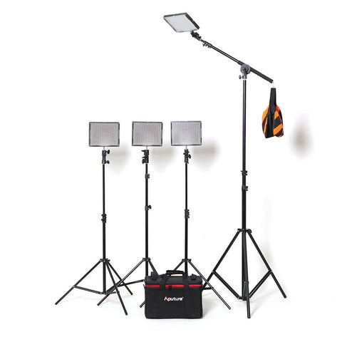 Aputure 4x AL-528 LED Video Continuous Portable Lighting Kit With Boom (From 2520 lumens at 1m)