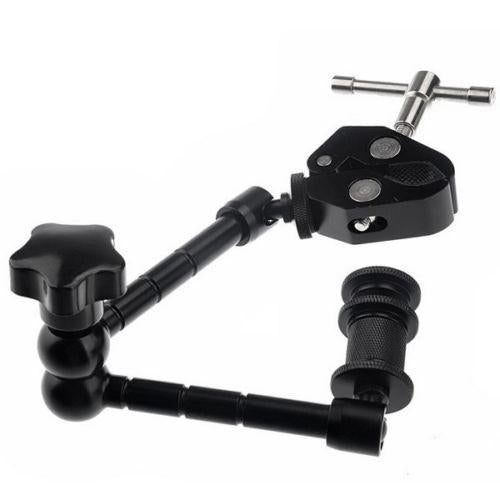 "11"" Articulating Magic Friction Arm with Solid Metal Nano Clamp Grip"