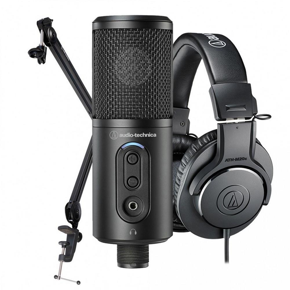 Audio Technica Content Creator Pack with Microphone, Headphones & Desk Boom