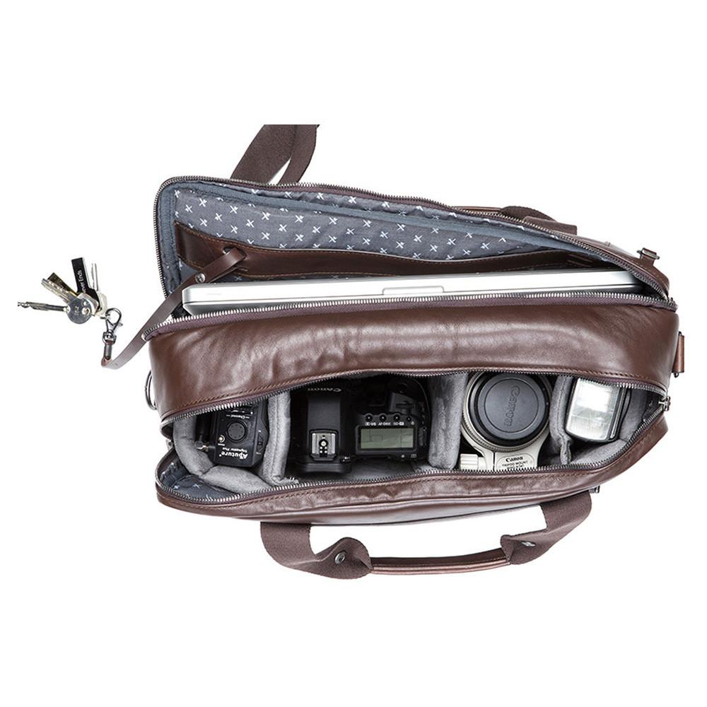 "Barber Shop ""Undercut"" Convertible Camera Bag (Smooth Leather, Dark Brown)"