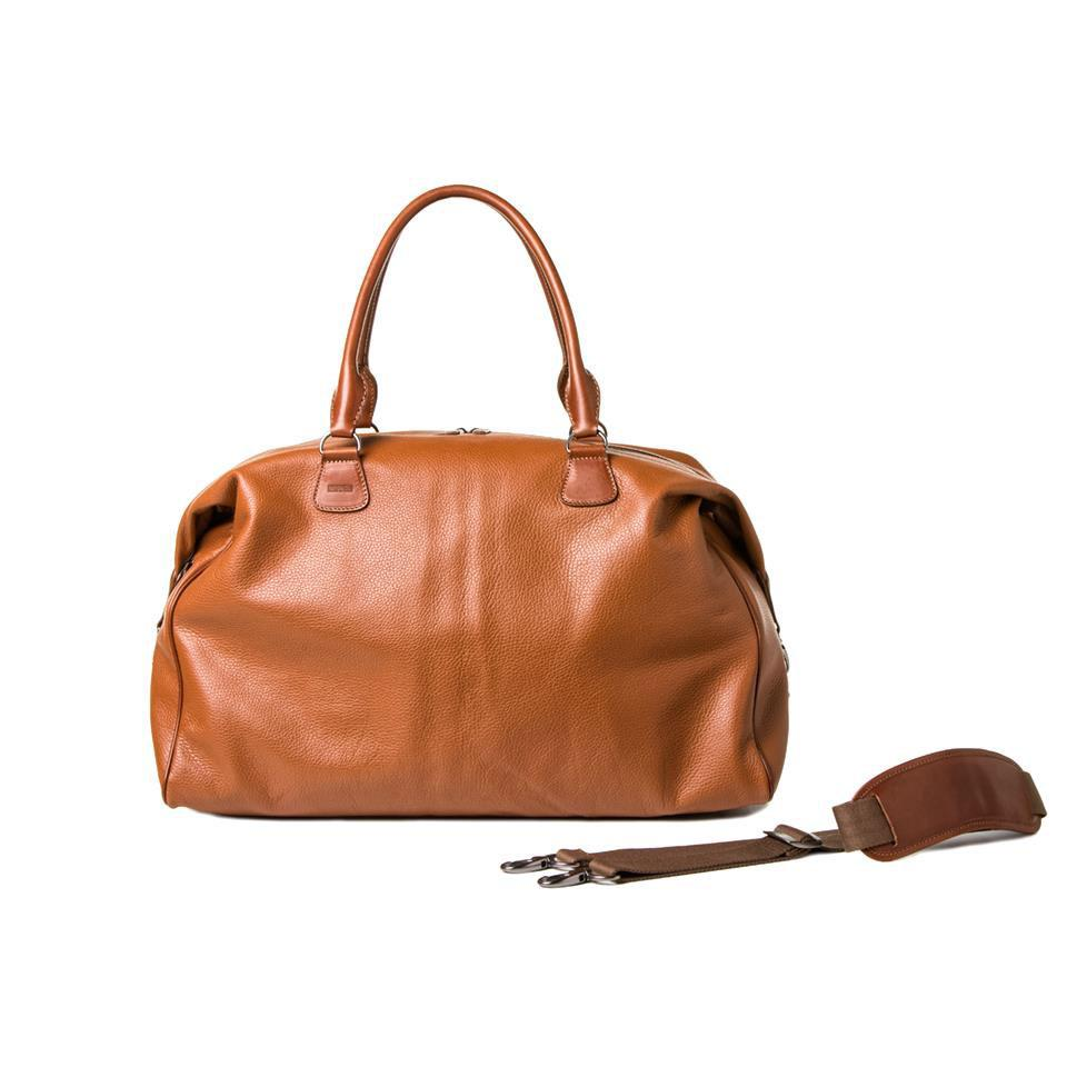 "Barber Shop ""Cesar Cut"" Duffle Camera Travel Bag (Grained Light Brown Leather)"
