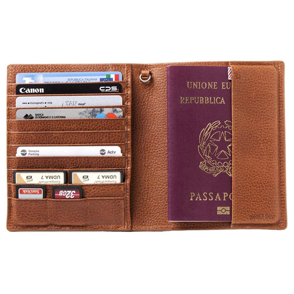 "Barber Shop ""Fringe"" Leather Passport & Memory Card Holder (Brown)"