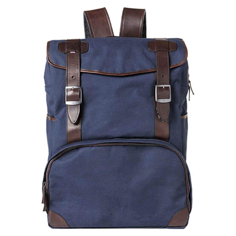 "Barber Shop ""Mop Top"" Camera Backpack (Canvas & Leather, Blue & Dark Brown) exclude"