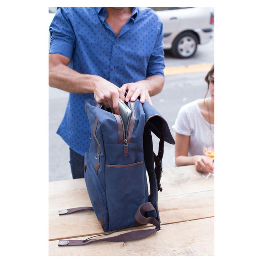 "Barber Shop ""Mop Top"" Camera Backpack (Canvas & Leather, Blue & Dark Brown)"