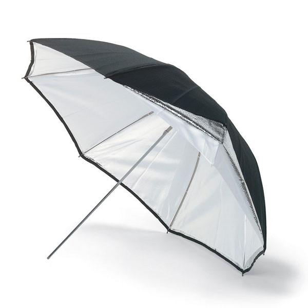"Bowens 2-in-1 Convertible Soft Diffuser White / Silver Reflector Umbrella (90cm / 35.4"") exclude"