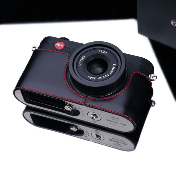 DISCONTINUED CASE - Gariz XS-CHX1MBKR Black Red Leather Half Case for Leica X1 X2