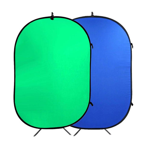 Hypop Large Chroma Key Nylon Green/Blue Double Sided Pop Up Backdrop with Stand and Peg Kit (1.5 x 2.1M)