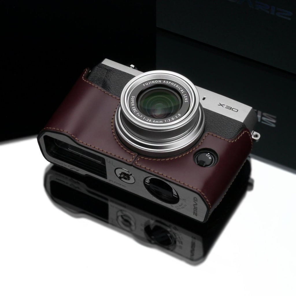 DISCONTINUED CASE - Gariz Brown Leather Camera Half Case XS-CHX30BR for Fujifilm X30 Fuji X30