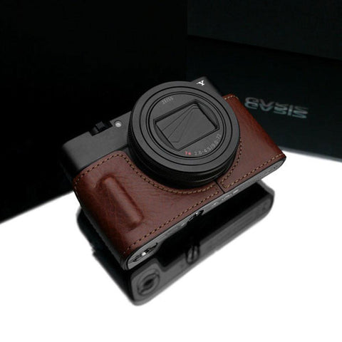 Gariz HG-RX100M6BR Leather Camera Half Case Brown for Sony RX100M6 RX100VI