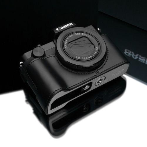 DISCONTINUED CASE - Gariz Black Leather Camera Half Case XS-CHG5XBK for Canon PowerShot G5X