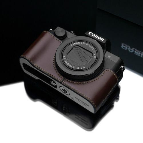 Gariz Brown Leather Camera Half Case XS-CHG5XBR for Canon PowerShot G5X