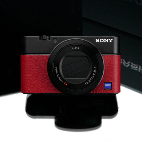 Gariz LS-RX100M6R Leather Sticker Skin Red for Sony RX100VI RX100M6