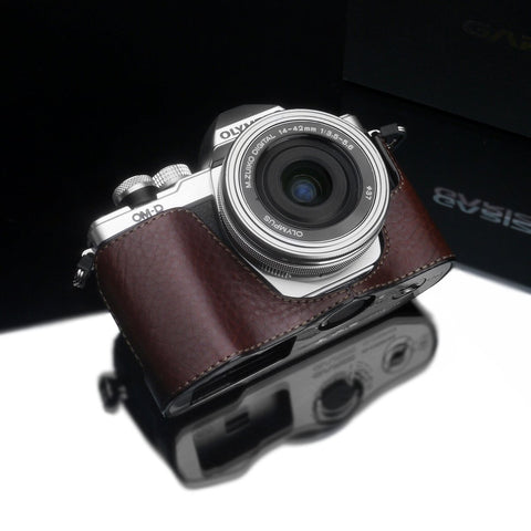 Gariz XS-CHEM10IIBR Camera Half Case Brown for for Olympus E-M10II Mark II