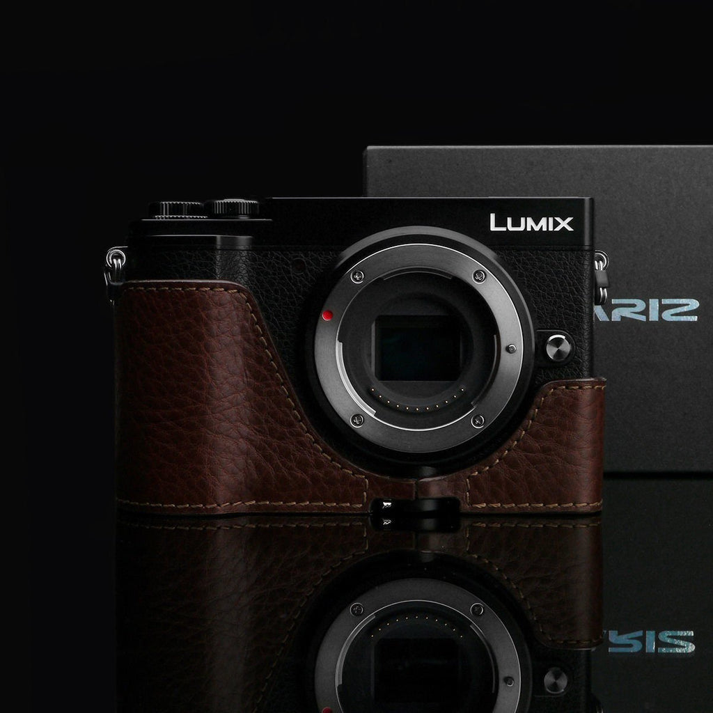 Gariz XS-CHGX9BR Brown Leather Camera Half Case for Panasonic Lumix GX9