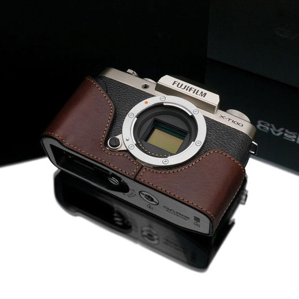 Gariz XS-CHXT100BR Leather Camera Half Case w/ Capfix Brown for Fujifilm X-T100