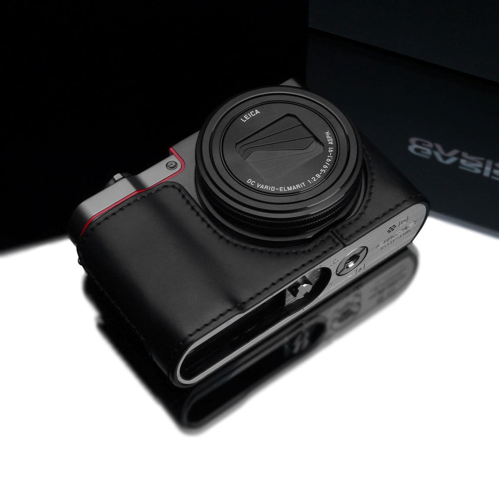 DISCONTINUED CASE - Gariz XS-CHZS110BK Leather Camera Half Case Black for Panasonic Lumix ZS110