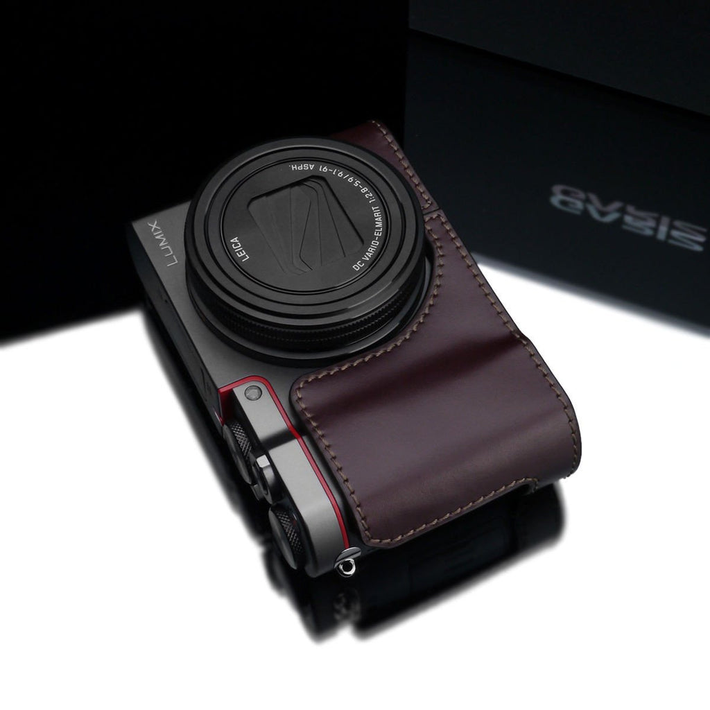 Gariz XS-CHZS110BR Leather Camera Half Case Brown for Panasonic Lumix ZS110
