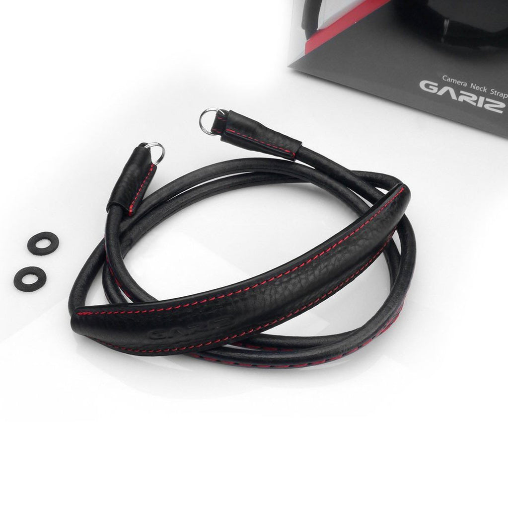 Gariz XS-CSNLBKR Large Leather Neck Strap (Black Red Stitching)