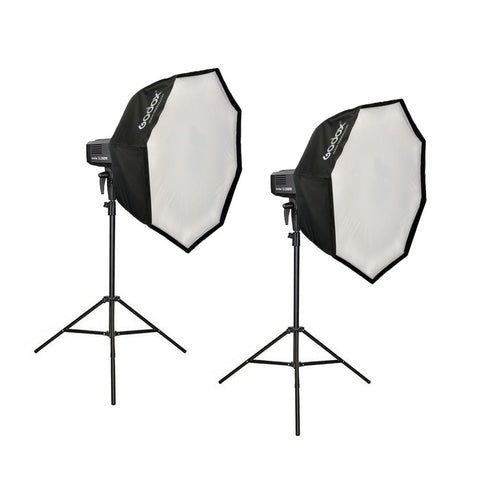 Godox 2 X SLB-60W LED Portable Advanced Kit (Including 80cm Collapsible Softboxes and Light Stands)