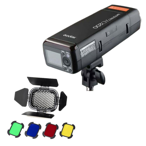 Godox Witstro AD200 200W Cordless Portable Outdoor TTL Flash Strobe with BD-07 Barndoor Honeycomb Set